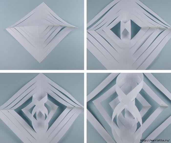 Как сделать из бумаги объемную снежинку фото
