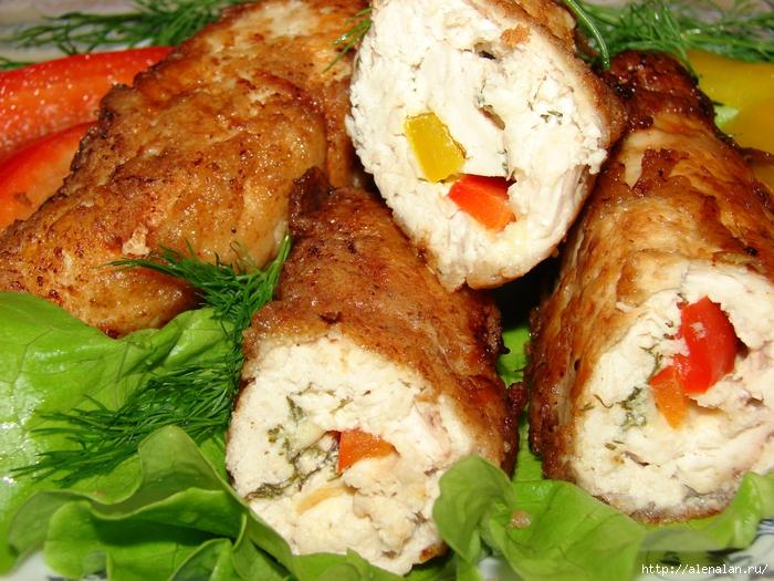 Куриные рулетики с сыром и перцем рецепт