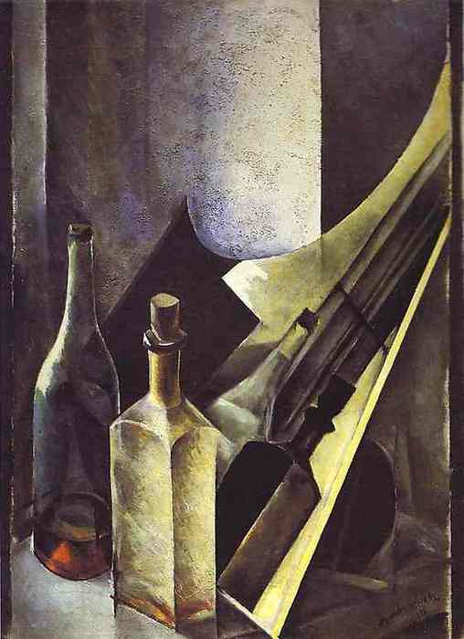altman3Nathan Altman. Still Life. Colored Bottles and Planes. 1918. Oil and plaster on canvas. 59.5 x 43.5 cm. The Russian Museum, St. Petersburg, Russia. (508x700, 29Kb)