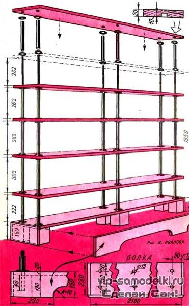 Схема сборки полки для книг.