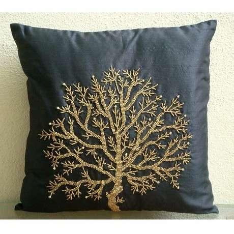 Знаменитый Tree - Подушка Шам Обложки - 24x24 дюймов Шелковый Подушка Шам Накрыть бисера Вышивка.