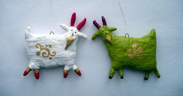 Елочная игрушка козы своими руками