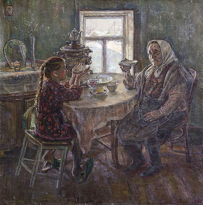 Зайцев Николай Егорович-В гостях у бабушки (695x700, 479Kb)