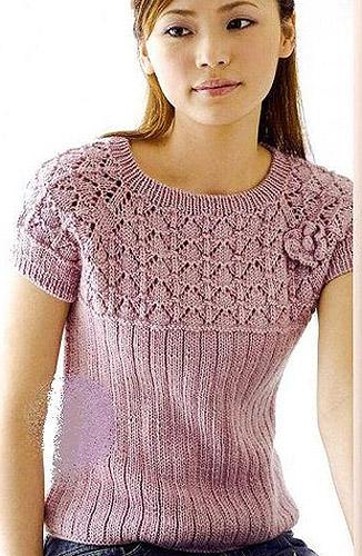 Вязание ажурной блузки спицами