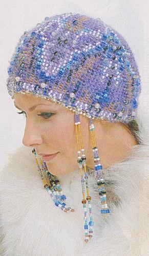 Бисерная шапочка в старорусском стиле: вязание спицами.  От нее невозможно оторвать глаз - в ней есть и женственность...