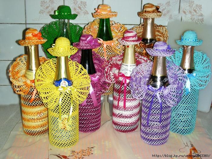 Вязание украшений на бутылку 3