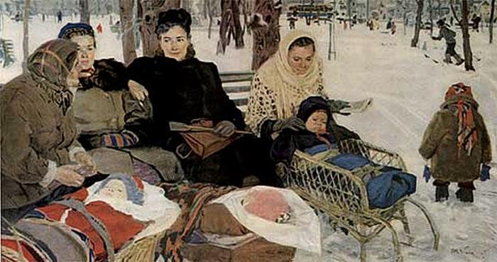 Татьяна Яблонская.  В парке  (700x369, 218Kb)
