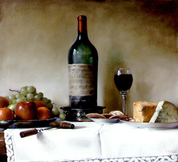 34 Todavía vida con una botella de vino.  M.Braun (600x546, 49Kb)