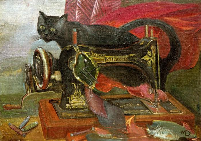 24  Кот и швейная машина (700x492, 181Kb)
