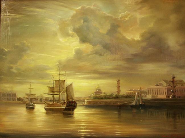 Вид на стрелку Васильевского острова (650x484, 111Kb)