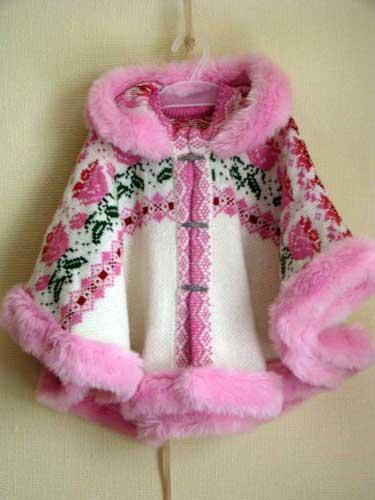 вязаная для девочек пальто