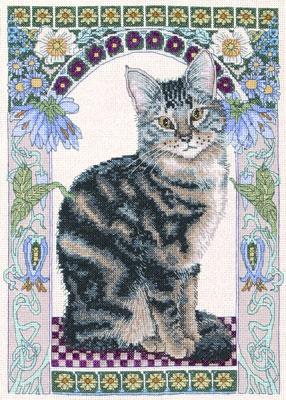 СХЕМА.  Полосатый кот.  Вышивка крестом, схемы.