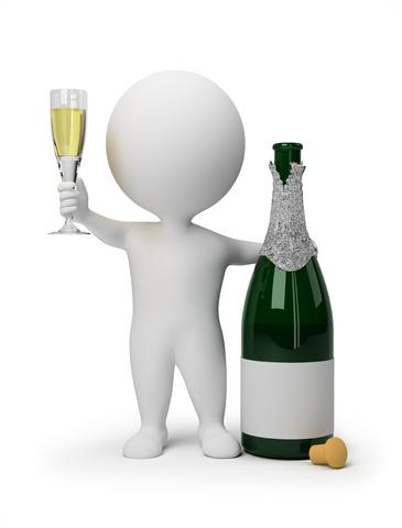 Человечек с бутылкой шампанского.