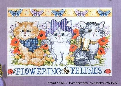 Набор для вышивания Flowering Felines (Цветочные котята).  Панно.