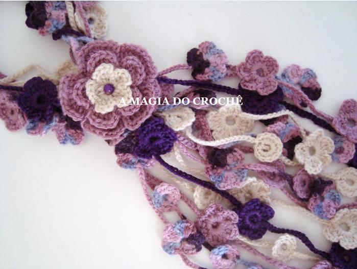 Связать крючком красивые цветочные шарфы-украшения.  Мастер класс, схемы.  Три шарфа. strong.