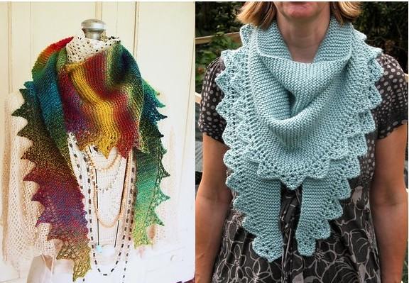 Бактус-шарф с ажурной каймой