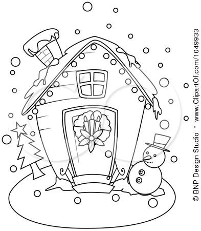 Раскраски картинки новогодние дома