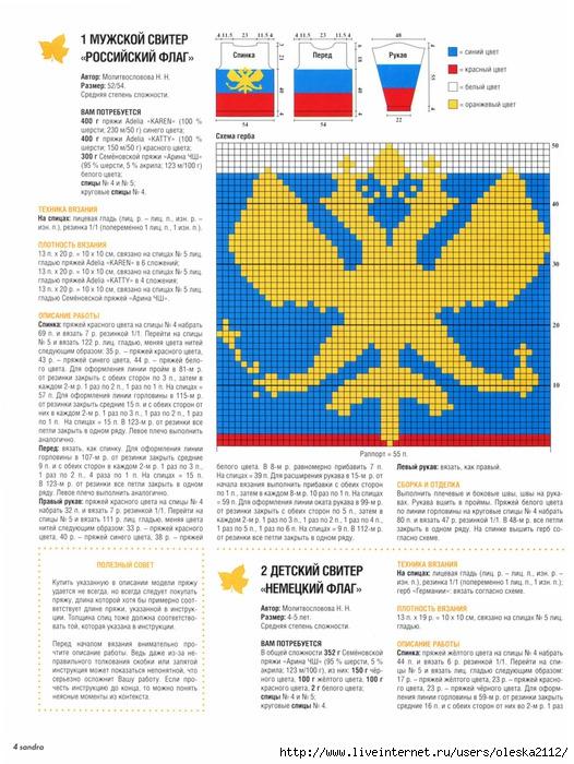 Схема вязания флага