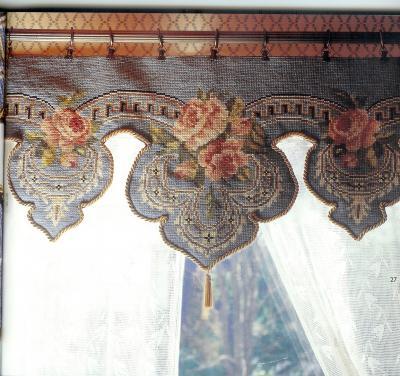 Схема вышивки крестом на шторы