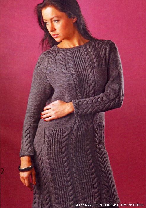 Вязаные спицами женские платья