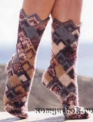 вязание носки в стиле печворк (300x395, 45Kb)