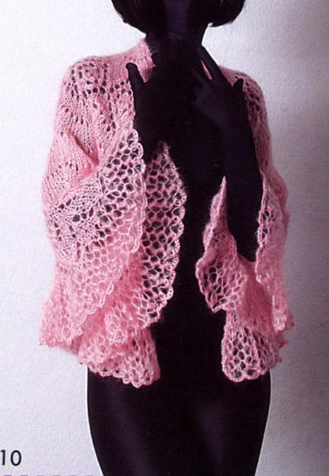 Розовая ажурная шаль.  Дизайн - Татьяна Олейник.  Вам потребуется 500 г тонкой пряжи с ангорой, спицы 4 мм...