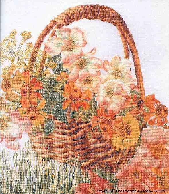 Корзина цветов 3064,Цветы,Thea Gouverneur,Наборы для вышивания,цветы,счетный крест.  Рукоделие.