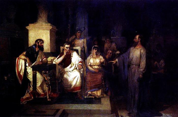 Апостол Павел объясняет догматы веры в присутствии царя Агриппы, сестры его Береники и проконсула Феста. 1875 (700x459, 84Kb)