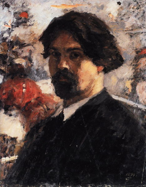 Автопортрет на фоне картины Покорение Сибири Ермаком. 1894 (469x600, 117Kb)