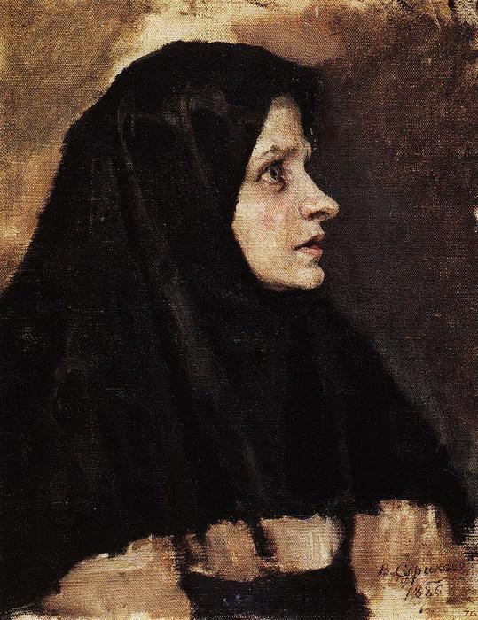 Голова женщины в черном платке. 1886 (539x700, 145Kb)
