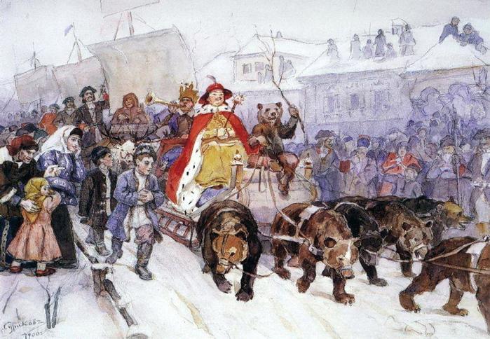 Большой маскарад в 1722 году на улицах Москвы с участием Петра I и князя-кесаря И. Ф. Ромодановского. 1900 (700x484, 243Kb)