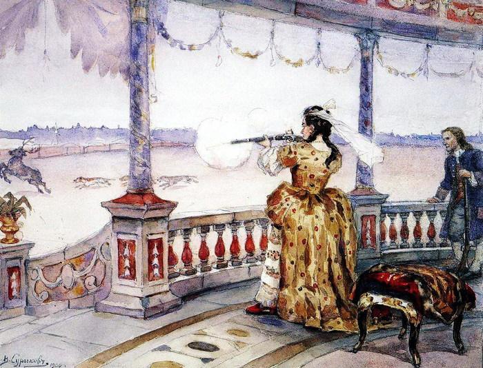 Императрица Анна Иоанновна в петергофском Тампле стреляет оленей. 1900 (700x534, 171Kb)