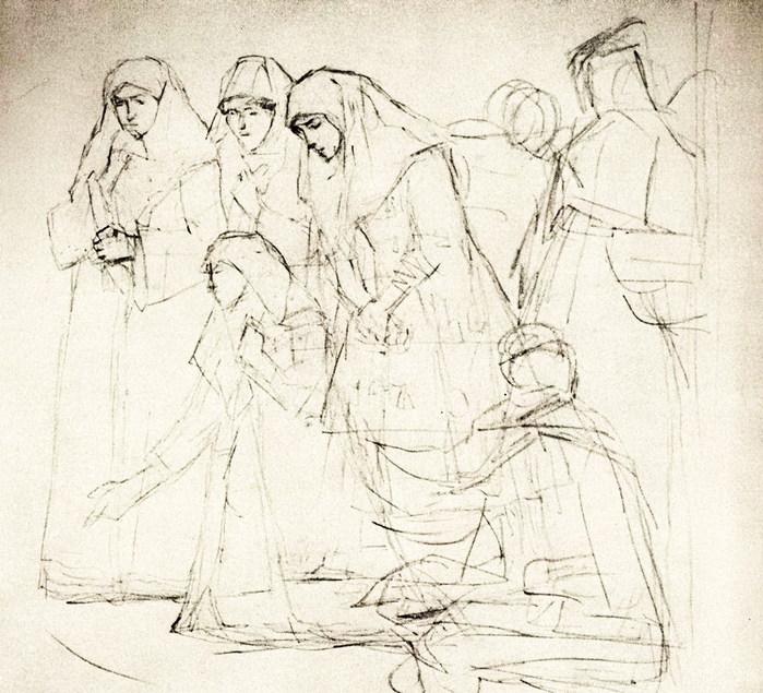 Женские фигуры, странник, юродивый. 1881-1887 (700x635, 132Kb)