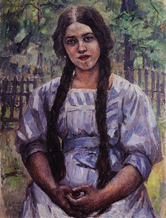 Девушка с косами. Портрет А. А. Добринской. 1910 (532x700, 184Kb)