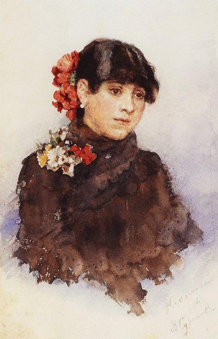 Неаполитанская девушка с цветами в волосах. 1883-1884 (450x700, 113Kb)