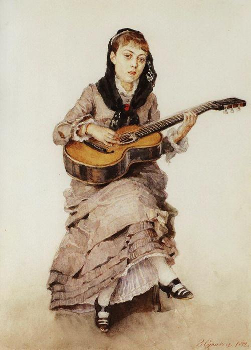 С гитарой. Портрет княгини С.А.Кропоткиной 1882 (501x700, 89Kb)