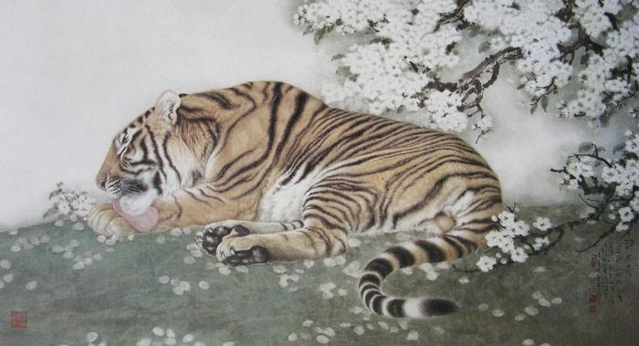 схемы вышивка крестиком Тигр тигр, зверь, кошки, лежит.
