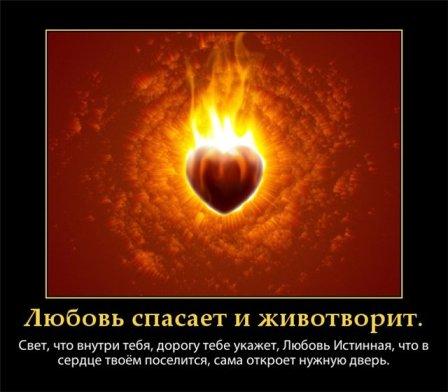 любовь спасает и животворит. Свет, что внутри тебя, дорогу тебе укажет.Любовь истиная,что в серд.твоём поселится, сама откроет нужную дверь. (448x392, 31Kb)