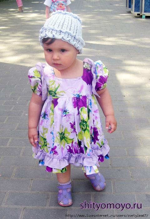 Выкройка вязаного детского платья 7