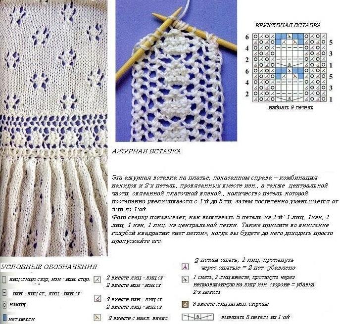 Ажурное белое платье связано спицами 4. Размеры с 40 по 46.  Пряжа 100% хлопок.  Схема вязания ажурного платья...