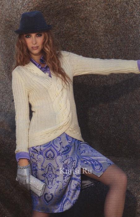 пуловер с объемной косой (452x700, 106Kb)