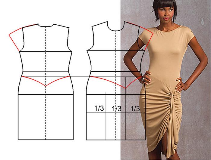 платья своими руками с одним швом