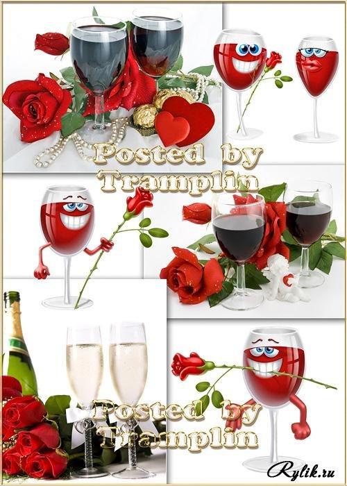 Розы и шампанское на белом фоне (500x700, 90Kb)