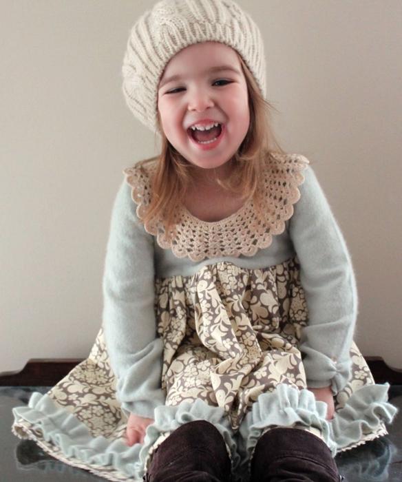 Теплое платье на девочку сшить