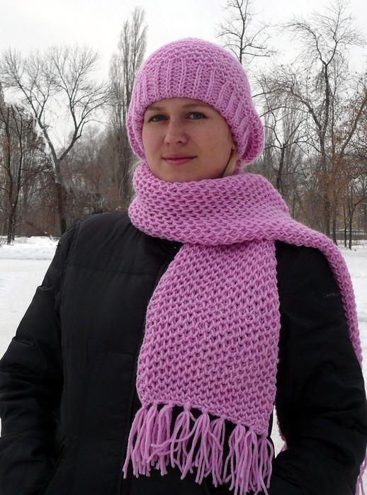 "Берет и шарф узором  ""Соты "" ."