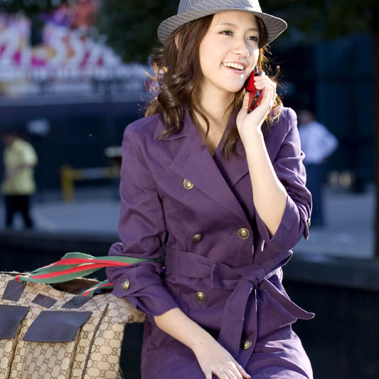Модное фиолетовое пальто с двубортным воротником (размер М) - EuroModa.Kz.