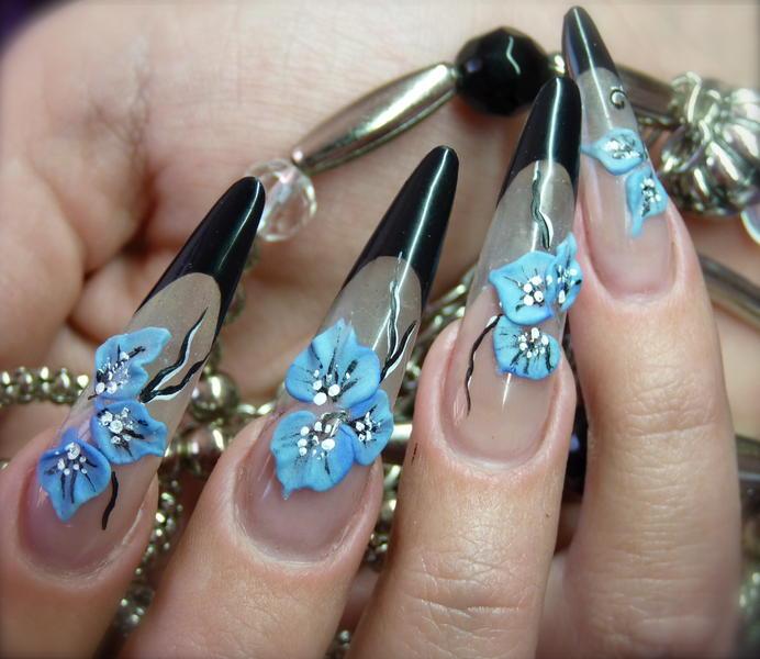 черный френч ногтей