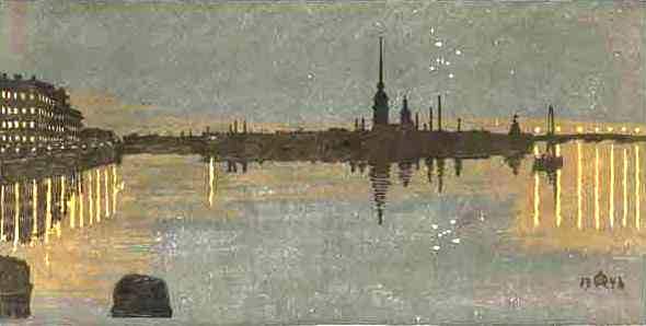 Вид на крепость ночью. 1946. Цветная ксилография (590x298, 18Kb)
