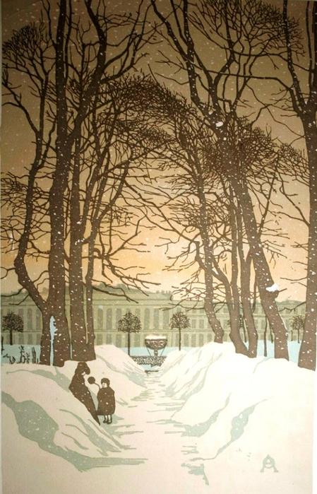 Летний сад. 1902г. Ксилография. (449x700, 271Kb)