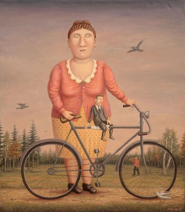 Девушка с велосипедом и мужчиной (600x686, 89Kb)